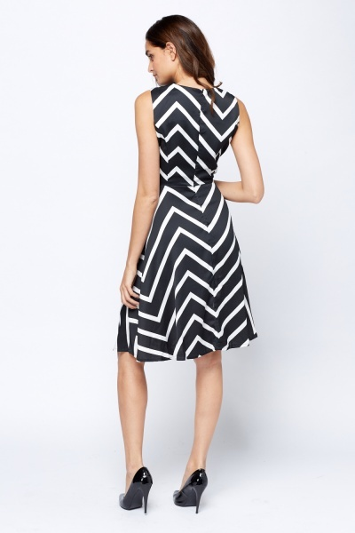 Mono Striped Skater Dress