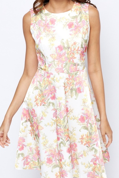 Printed Cream Skater Dress