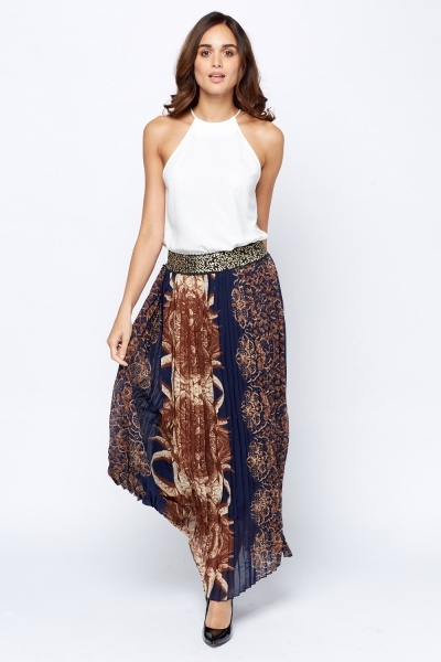 Printed Pleated Maxi Skirt