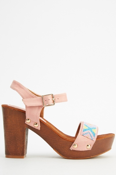 Beaded Clog Heeled Sandals