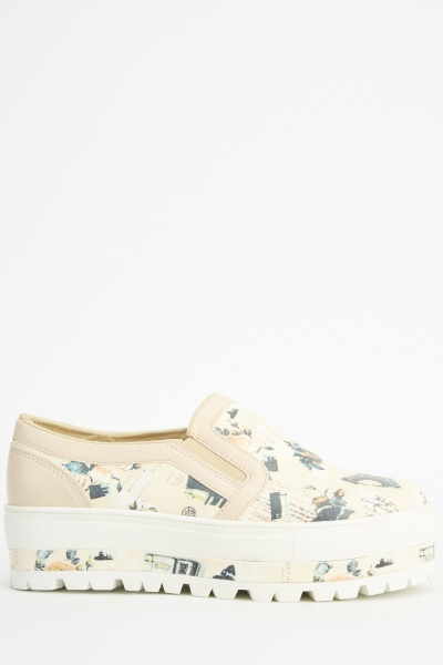 Beige Printed Flatform Shoes