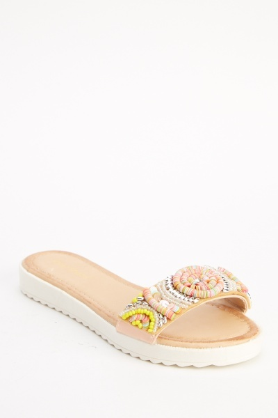 Embellished Beaded Front Sliders