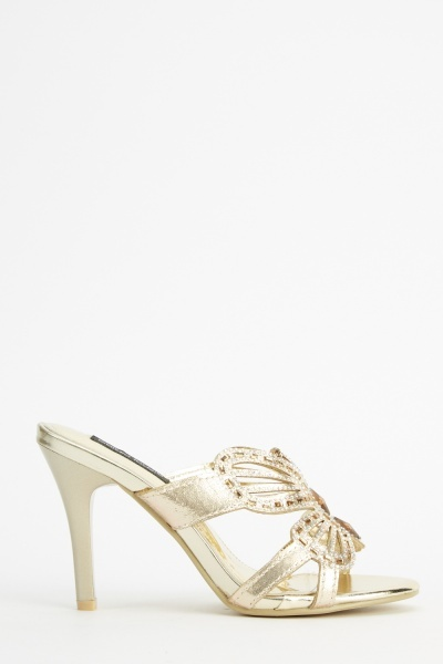 Embellished Metallic Heels