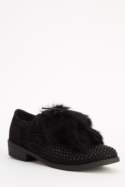 Faux Fur Panel Front Encrusted Shoes
