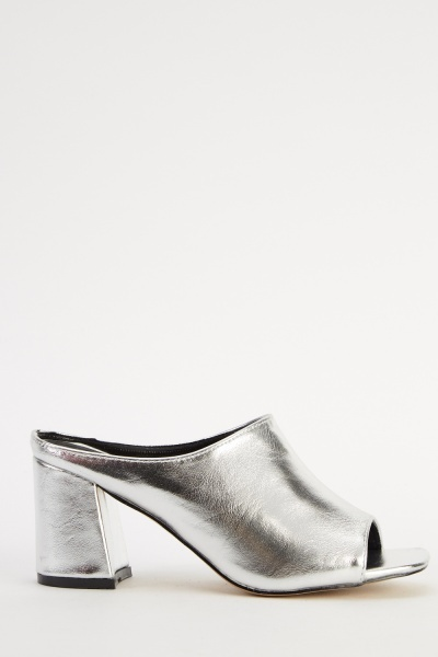 Faux Leather Silver Mule Shoes