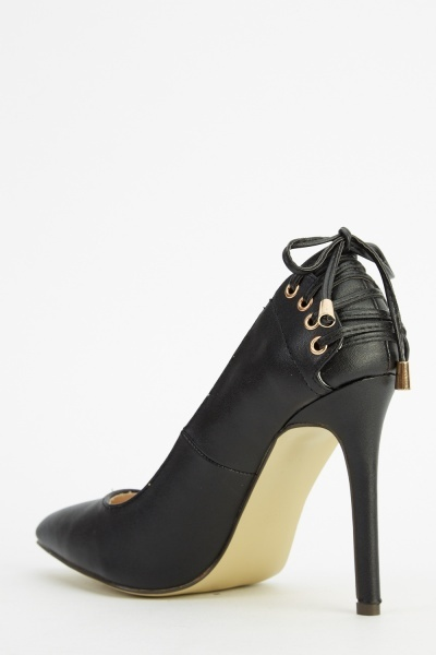 Lace Up Back Court Heels