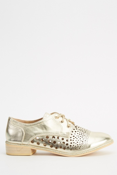 Metallic Faux Leather Cut Out Shoes