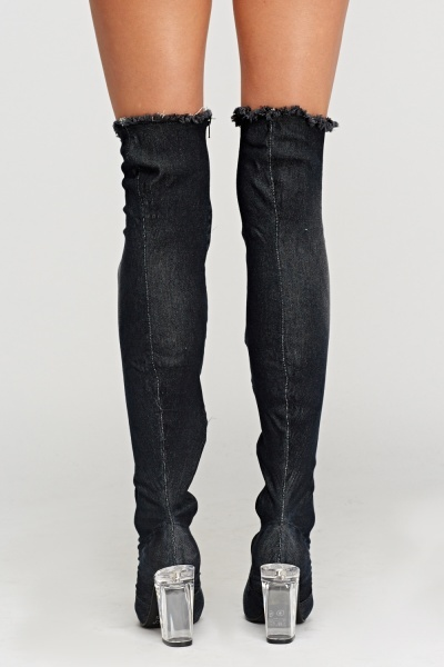 Sergio Todzi Distressed Over Knee Heeled Boots