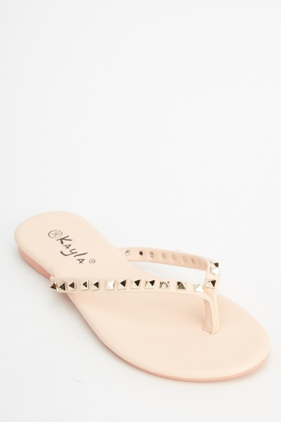 Studded Faux Leather Flip Flops