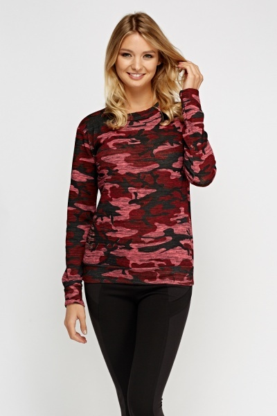 Camouflage Printed Long Sleeve Top