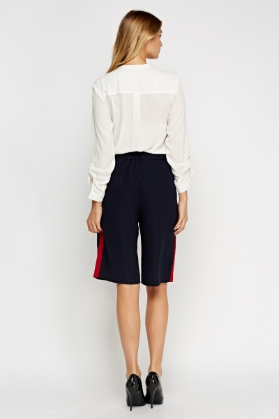 Elasticated Striped Trim Culottes