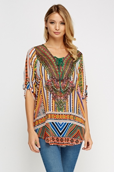 Embellished Mixed Print Tunic Top
