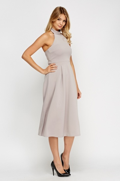 Halter Neck Light Grey Swing Dress