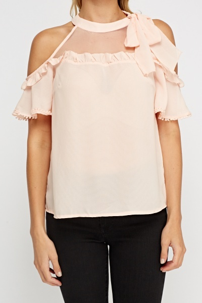 Mesh Insert Cold Shoulder Top