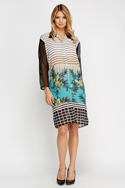 Multi Print Sheer Shirt Dress