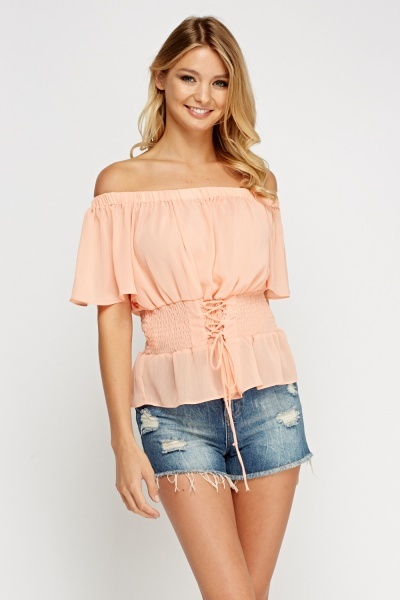 Off Shoulder Tie Up Waist Top