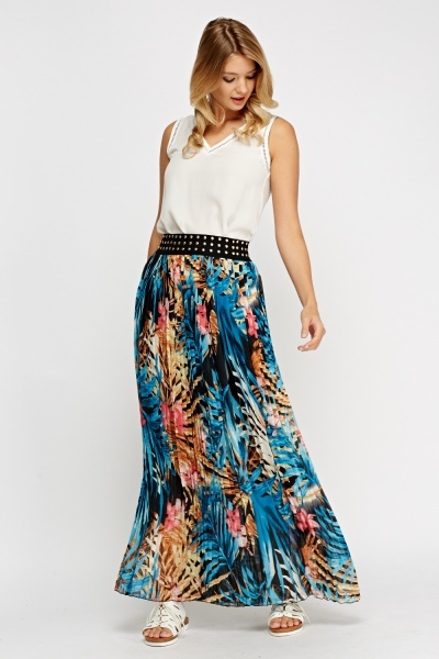Pleated Floral Maxi Skirt