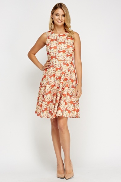Printed Sleeveless Skater Dress