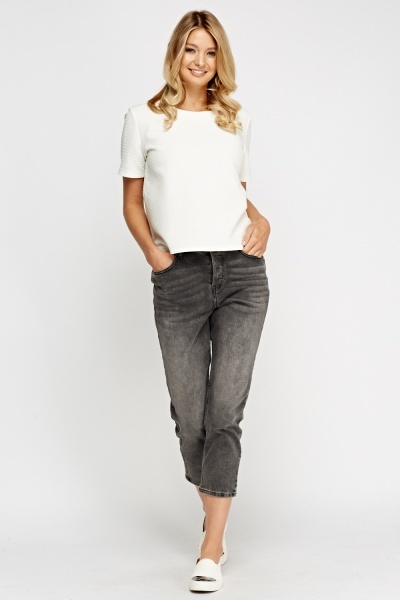 Washed Grey Cropped Denim Jeans