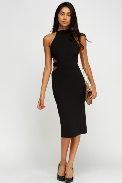 Cut Out Side Black Dress