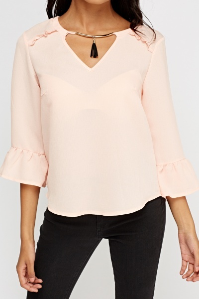 Detailed Neck Flare Sleeve Top