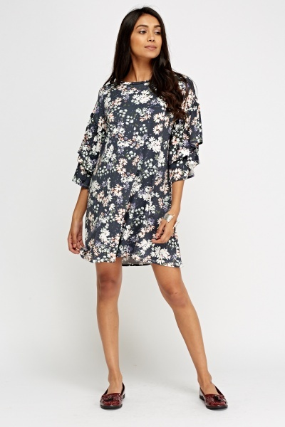 Flare Sleeve Floral Swing Dress