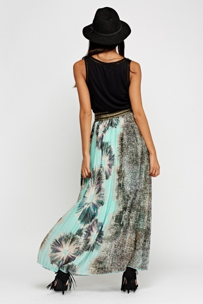 Mixed Print Pleated Maxi Skirt