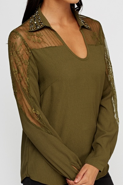 Olive Lace Insert Blouse