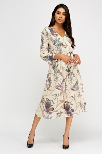 Printed Button Up Shift Dress