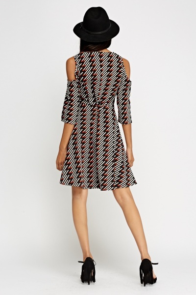 Printed Cut Out Shoulder Swing Dress