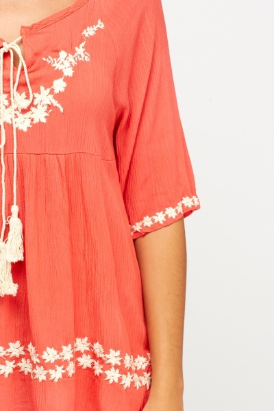 Contrast Embroidered Detail Top