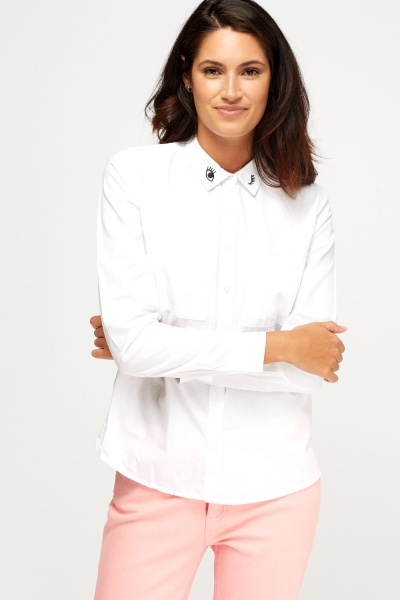 Embroidered Detail Off White Shirt