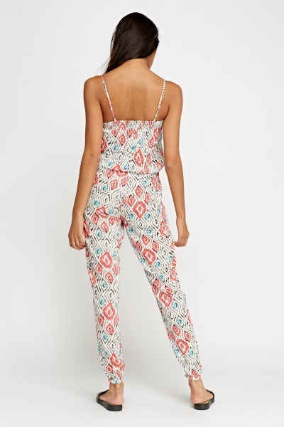 Printed White Jumpsuit