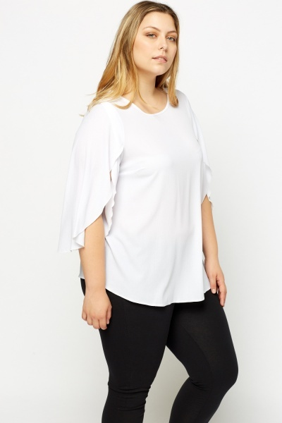 Slit Sleeve Dip Hem Top