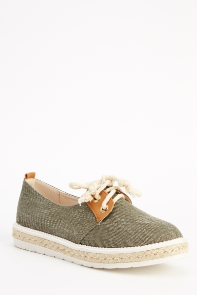Contrast Tie Up Espadrille Shoes