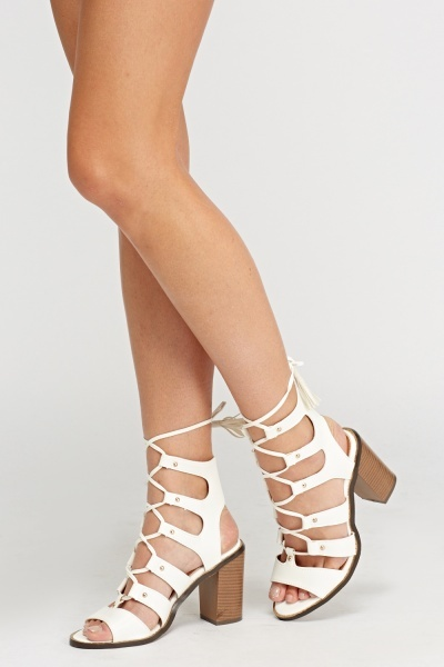 Heeled Lace Up Sandals