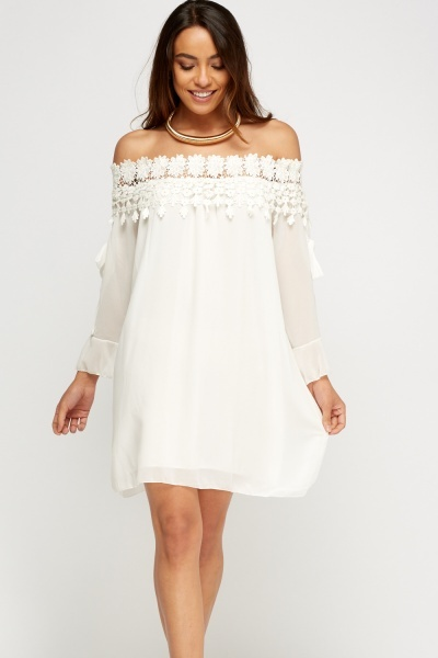 Crochet Contrast Off Shoulder Dress