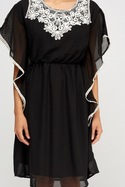 Crochet Trim Sheer Dress