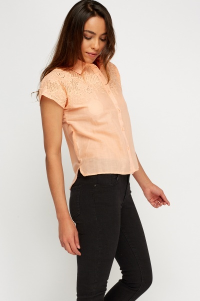 Cut Out Embroidered Detail Shirt