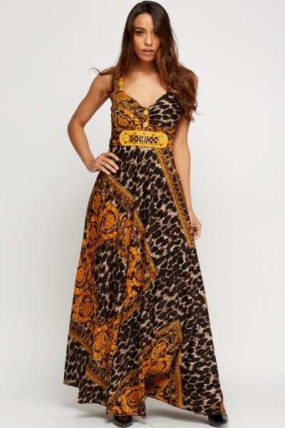 Detailed Mixed Print Long Dress
