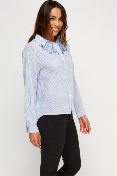 Embroidered Pinstripe Shirt
