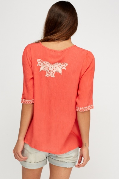 Embroidered Tie Neck Top