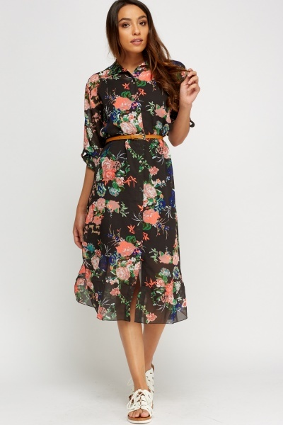 Floral Sheer Shirt Dress