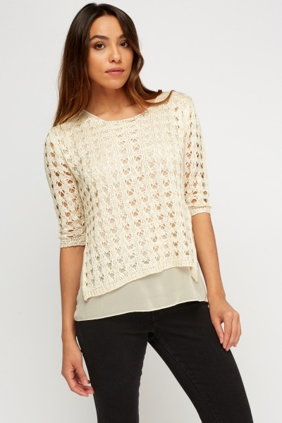 Loose Knit Overlay Top