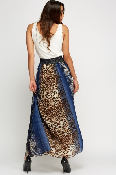 Mixed Print Contrast Maxi Skirt