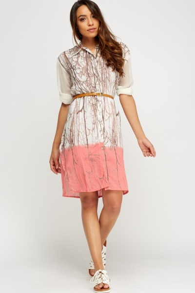 Printed Tie Dye Shirt Dress