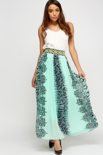 Printed Waist Pleated Maxi Skirt