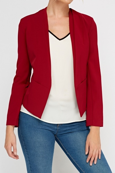 Burgundy Cropped Black Blazer