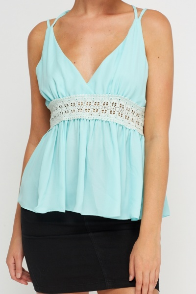 Crochet Contrast Detailed Back Top