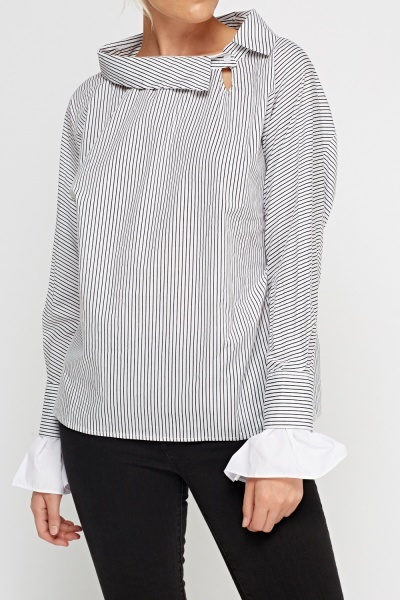 Insert Flare Sleeve Striped Top